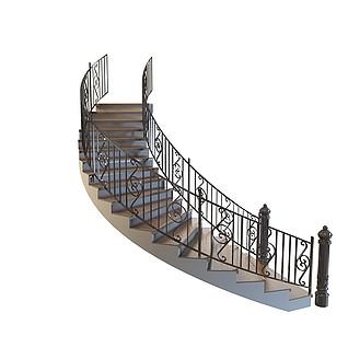 欧式铁艺楼梯3d模型