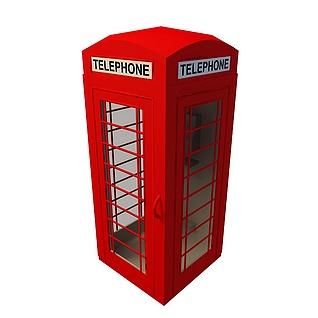 红色电话亭3d模型