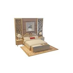 现代床头背景床3D模型3d模型