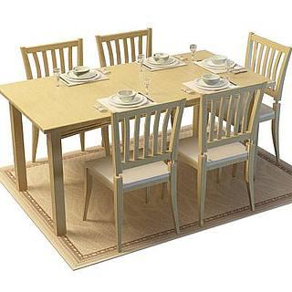 中式木质餐桌椅组合3d模型