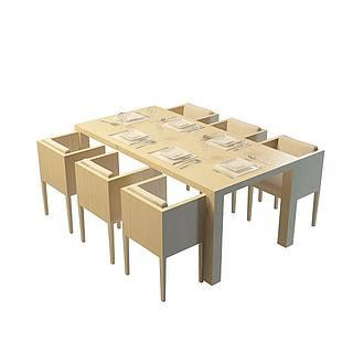 现代木质餐桌椅组合3d模型