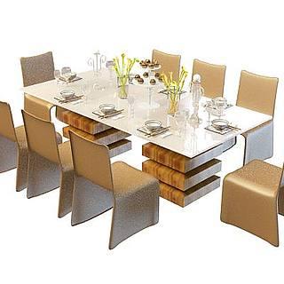 多人<font class='myIsRed'>餐桌</font>椅3d模型