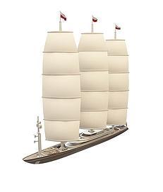 三帆<font class='myIsRed'>帆船</font>3d模型