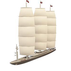 3d三帆<font class='myIsRed'>帆船</font>模型