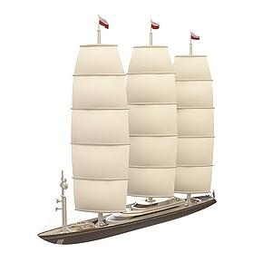 3d現代<font class='myIsRed'>帆船</font>模型