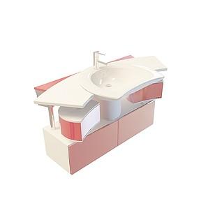 豪华洗手台柜组合3d模型