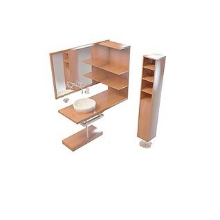 实木平台洗手盆3d模型