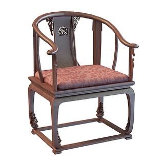 中式红木太师椅3d模型