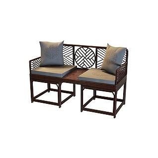 新中式实木太师椅3d模型
