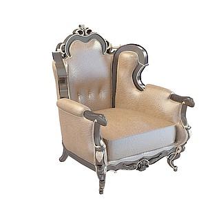 欧式豪华沙发椅3d模型