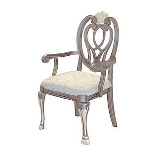 漂亮的欧式餐厅椅3d模型