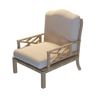 现代白木扶手椅3d模型