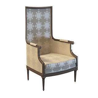 欧式高背椅子3d模型