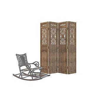 摇椅隔断3d模型