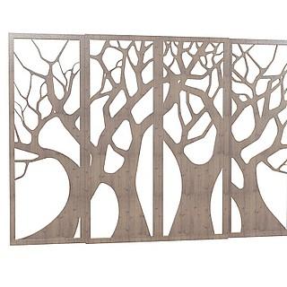 木质隔断3d模型