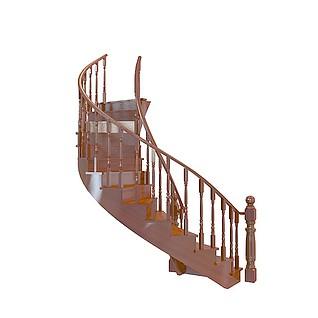 中式旋转楼梯3d模型