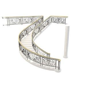 3d白色铁艺扶手楼梯模型
