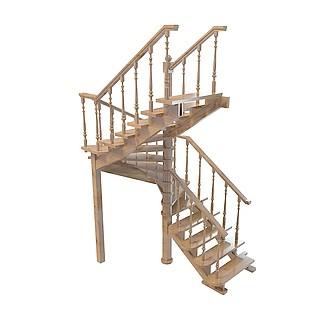 欧式木结构栏杆3d模型图片