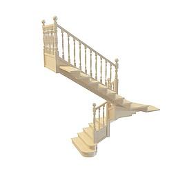 黄色木头欧式楼梯3d模型