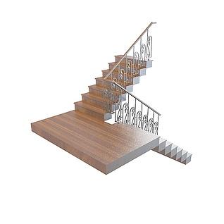 实木欧式楼梯3d模型