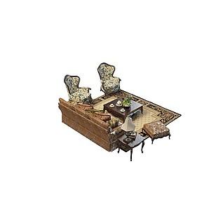 欧式沙发茶几3d模型