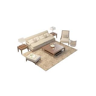 简约沙发茶几家具3d模型