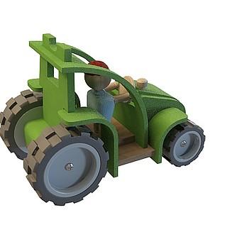 卡通拖拉机3d模型