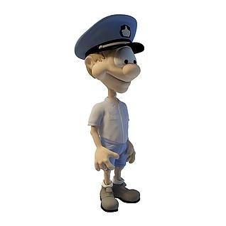 3d卡通小警察模型