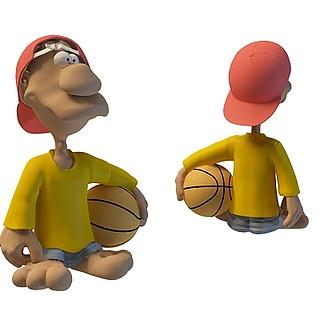 卡通篮球小人3d模型