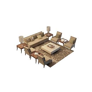 欧式客厅沙发3d模型