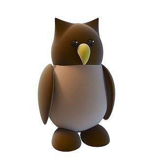 卡通猫头鹰3d模型