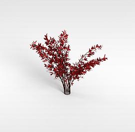 3d红叶灌木模型