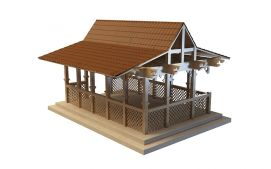 3d<font class='myIsRed'>古建筑</font>室外木质凉亭模型