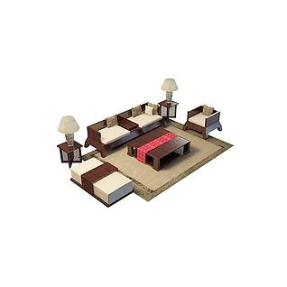 高档沙发茶几3d模型