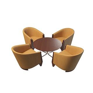 办公沙发茶几3d模型