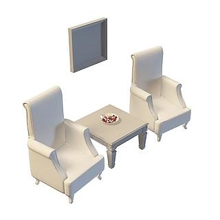 公司沙发茶几3d模型