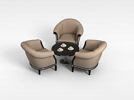 三<font class='myIsRed'>人</font>沙发茶几组合3d模型