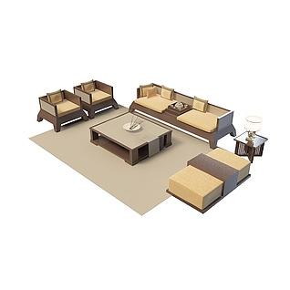 布艺沙发茶几3d模型