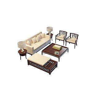 客厅沙发茶几3d模型
