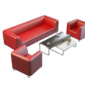 红色沙发茶几模型