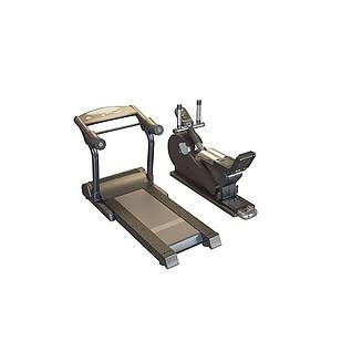 健身房跑步机3d模型