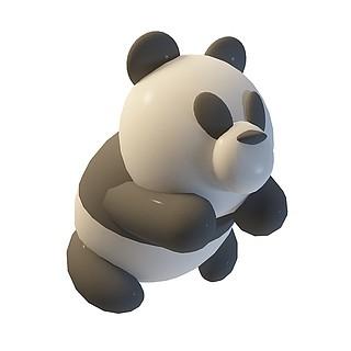 卡通熊猫3d模型