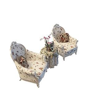 欧式印花沙发茶几3d模型