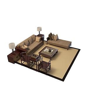 现代沙发套装3d模型