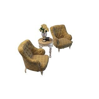 古典沙发茶几3d模型