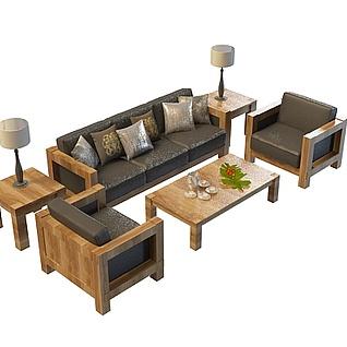 办公室沙发茶几3d模型