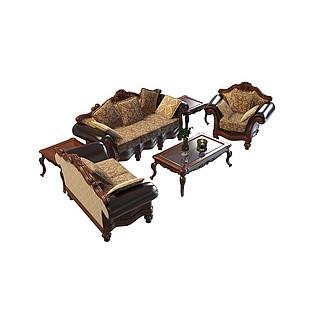 豪华实木沙发组合3d模型