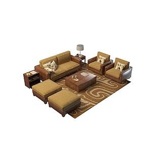 实木布艺沙发3d模型