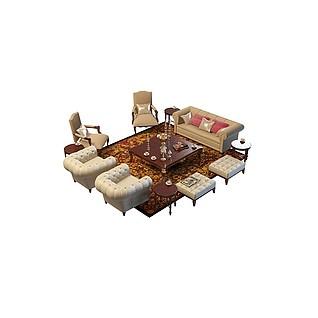 欧式多件套沙发3d模型