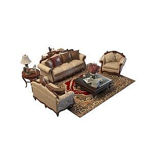 欧式沙发组合3d模型